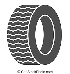 Tire solid icon. Car wheel vector illustration isolated on white. Auto disk glyph style design, designed for web and app. Eps 10.