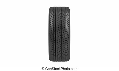 Tire spin on white background