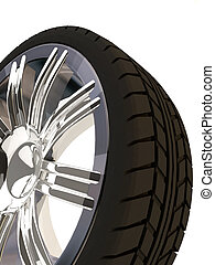 tire - Brand new tyre, 3d rendering of car wheel, isolated...