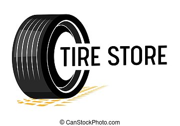 Tire Store Banner with Car Tyre, Tread Track and Black Typography on White Background. Transportation and Vehicles Parts, Accessories and Equipment Retail Service. Vector Illustration, Icon, Label