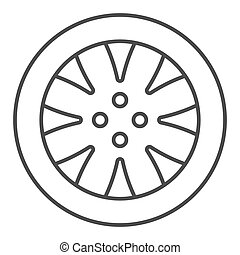 Tire thin line icon. Automobile wheel vector illustration isolated on white. Car part outline style design, designed for web and app. Eps 10.