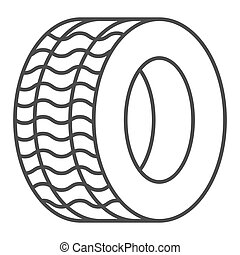 Tire thin line icon. Automobile wheel vector illustration isolated on white. Car tyre outline style design, designed for web and app. Eps 10.