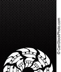 tire track background with a special metallic grid design
