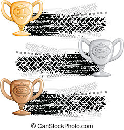 Tire track banners with cups