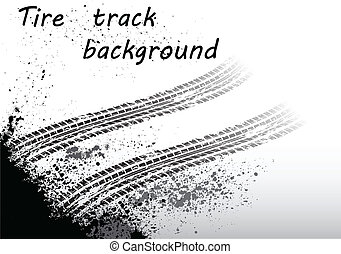 Tire track black - Black tire track on white background