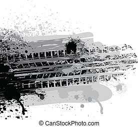 Tire track - Black ink blots with tire track silhouette