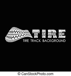 Tire track black text background