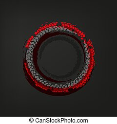 Tire Track frame - Tire track circle grunge frame. Vector...