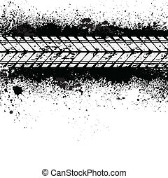 Tire track on ink blots - Spray paint blots with white tire ...