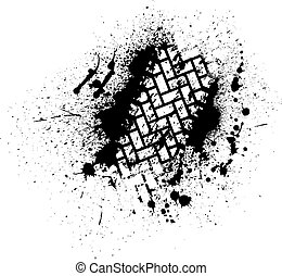 Tire track with ink blots - White tire track on black ink ...