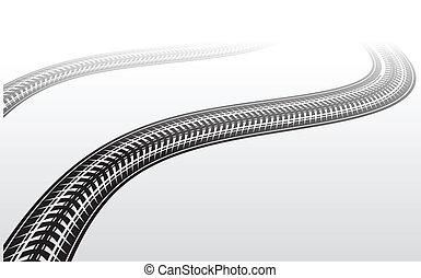 Tire track zigzag - Black silhouette of tire track in...