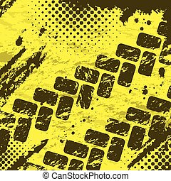 Tire tracks background two - Grunge yellow background with...