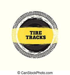tire tracks circular frame background