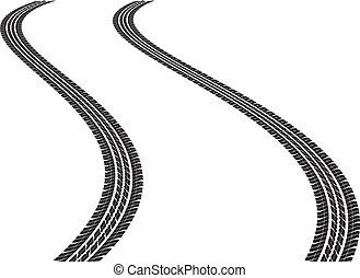 tire tracks - clip art illustration of tire tracks