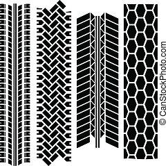Tire tracks - Four tire tracks of cars