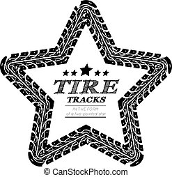 Tire tracks frame in the form of a five-pointed star. Vector...