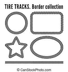 Tire tracks frame set.  illustration on white background