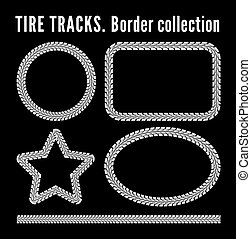 Tire tracks frame set. Vector illustration on black...