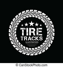 Tire tracks. Illustration on black background