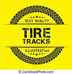 Tire tracks. Illustration on yellow background