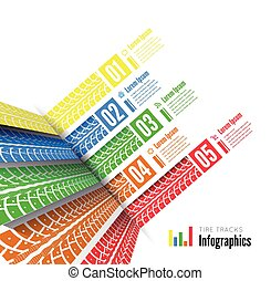 Tire tracks infographics background