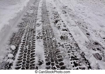 Tire Tracks on Snow
