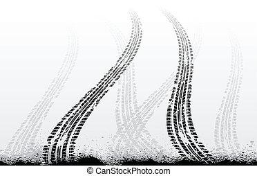 Tire tracks on white