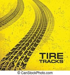 Tire tracks on yellow - Detail black tire tracks on yellow,...