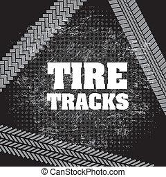 tire tracks over black background vector illustration