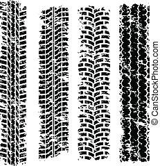 Tire tracks - Set of four dirty tire tracks