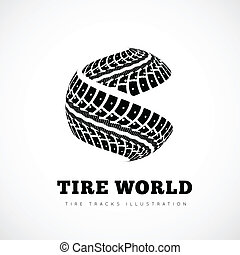Tire tracks sign in the form of spheres