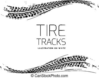 Tire tracks vector background in black and white style....