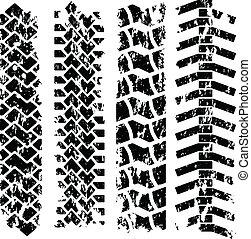 Tire tracks - Set of four tire track silhouette