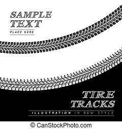 Tire tracks. Vector illustration in black and white style