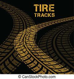 Tire tracks. Vector illustration on black background
