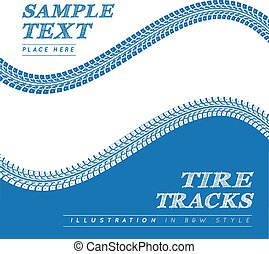 Tire tracks. Vector illustration on blue and white...