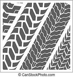 Tire tracks - vector set - Four dirty tire tracks - vector...