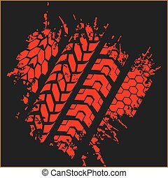 Tire tracks - vector set - Four dirty tire tracks - vector...
