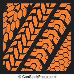 Tire tracks - vector set - Four dirty tire tracks - vector ...