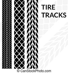Tire tracks wheel car different black dark vector trail.