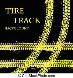 Tire tracks with text