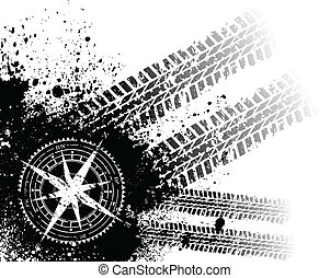 Tire tracks with wind rose - Black grunge tire track ...