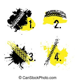 Tire tread marks banners