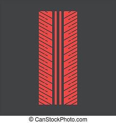 Tire tread red RGB color icon
