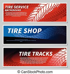 Tire tread tracks banners. Motorcycle, car and race bike dirty grunge road tire prints. Tread automobile, motor sport vector banner