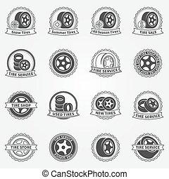 Tire vector emblems or labels