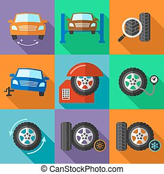 Tire wheel service icons set in flat design style. Car...