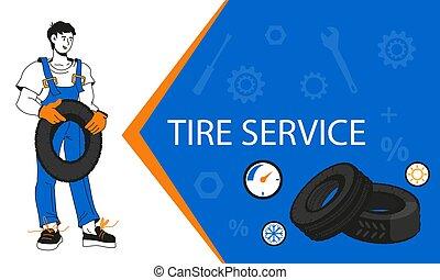Tire wheel service or shop, car repair garage banner cartoon...