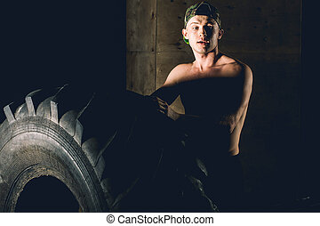 Tire Workout in gym