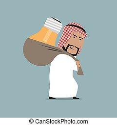 Tired arab businessman carrying a heavy idea